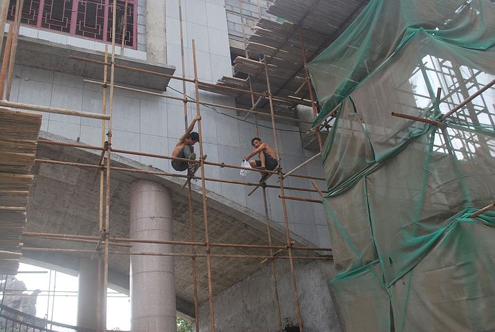scaffolding and construction workers
