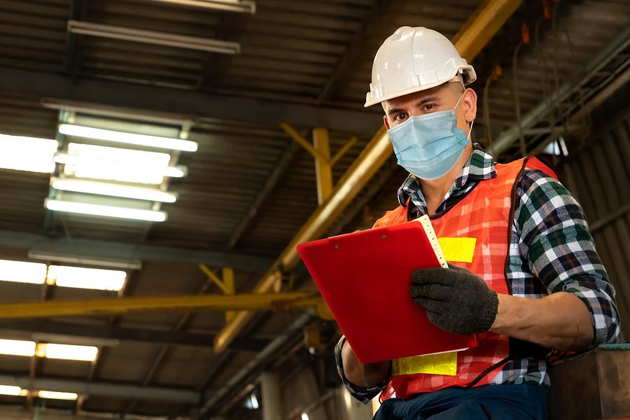 Man wearing wearing workwear supplies