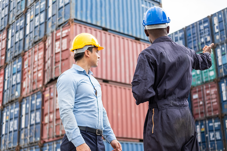 Workers of freight forwarding companies doing an inspection